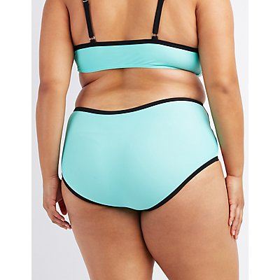 Plus Size Caged Colorblock Bikini Bottoms