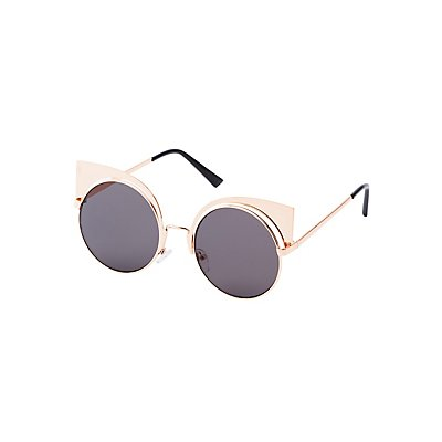 Metal Round Cat Eye Sunglasses