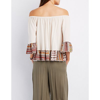 Printed-Trim Off-The-Shoulder Top