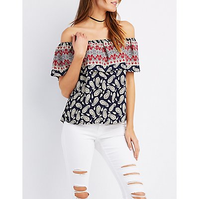 Paisley Ruffle Off-The-Shoulder Top