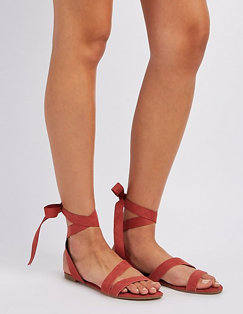 12e7c34bce4581 Bamboo Strappy Ankle Wrap Sandals ...