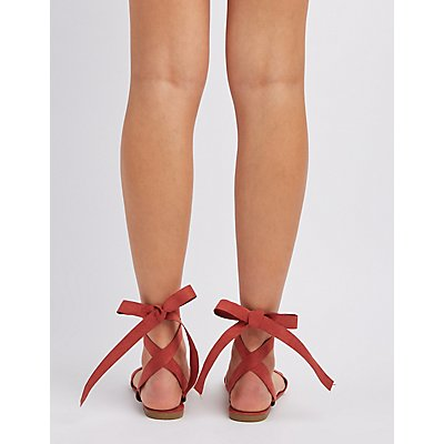 Bamboo Strappy Ankle Wrap Sandals