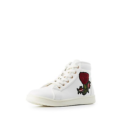 Bamboo Rose Embroidered High-Top Sneakers