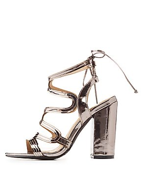 Metallic Caged Tie-Back Sandals