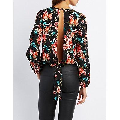 Floral Split Sleeve Tie-Back Top