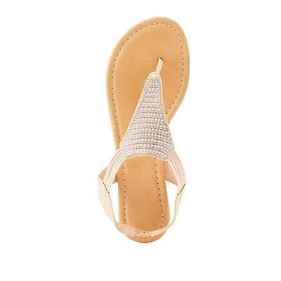 Beaded Thong Slingback Sandals