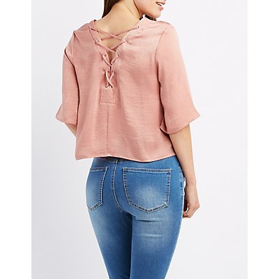 Satin Lace-Up Back Top