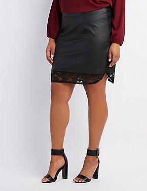 Plus Size Faux Leather Lace-Hem Skirt
