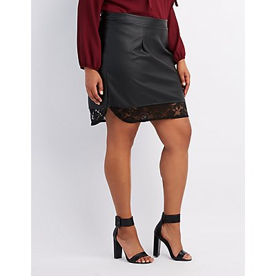Plus Size Faux Leather Lace-Hem Skirt