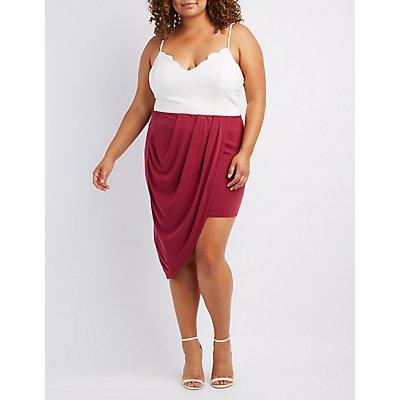 Plus Size Draped Asymmetrical Wrap Skirt