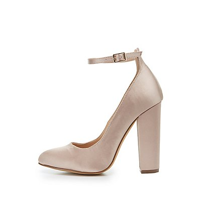 Ankle Strap Block Heel Pumps