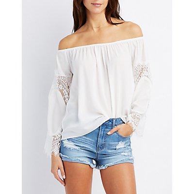 Lace-Trim Off-The-Shoulder Top