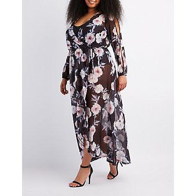 Plus Size Floral Mesh Maxi Wrap Dress