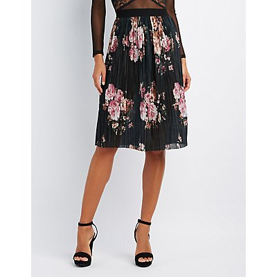 Floral Micro Pleated Midi Skirt