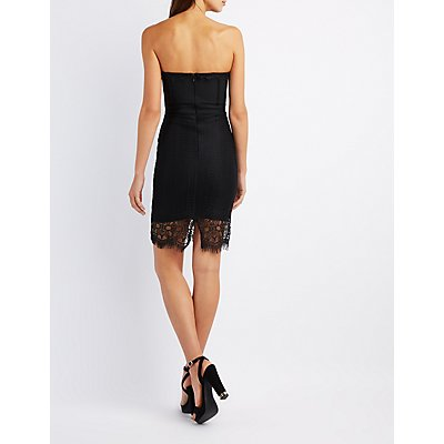 Eyelet Lace Strapless Bodycon Dress