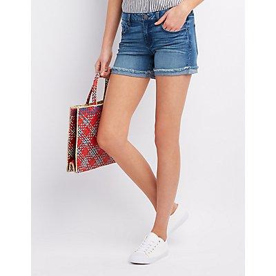 Refuge Girlfriend Cuffed Denim Shorts