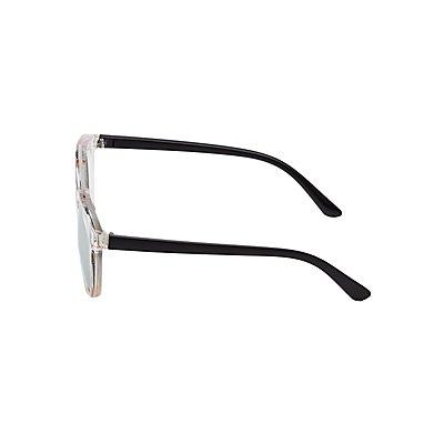 Metal Brow Bar Colorblock Sunglasses