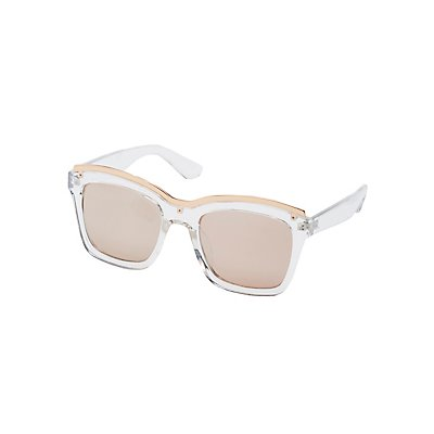 Metal Brow Bar Clear Sunglasses