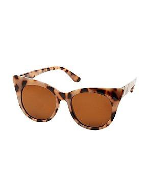 Plastic Leopard Cat Eye Sunglasses