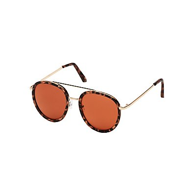 Metal Leopard Brow Bar Sunglasses