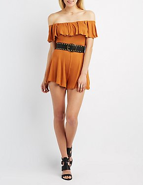 Ruffle Off-The-Shoulder Romper