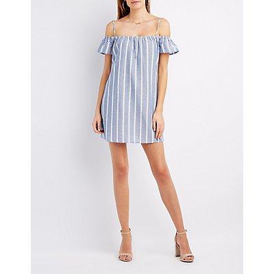 Striped Cold Shoulder Shift Dress