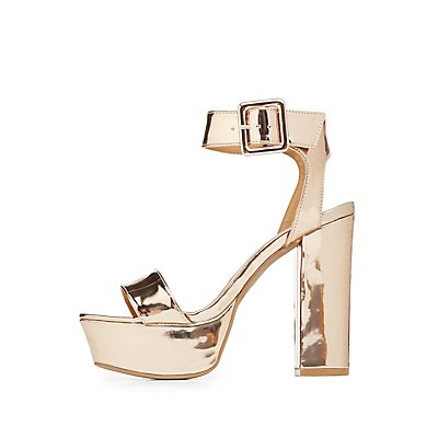 Qupid Metallic Two-Piece Platform Sandals