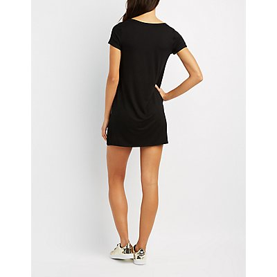 Graphic Lace-Up T-Shirt Dress