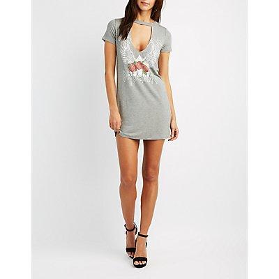 Choker Neck Graphic T-Shirt Dress