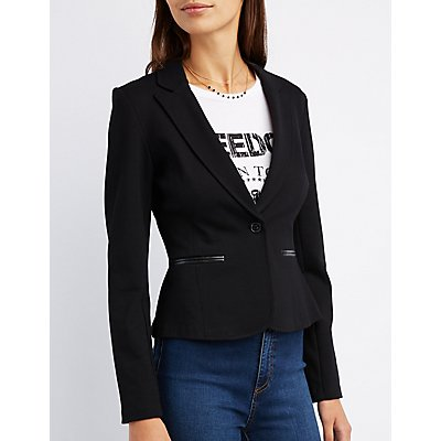 Faux Leather-Trim Blazer