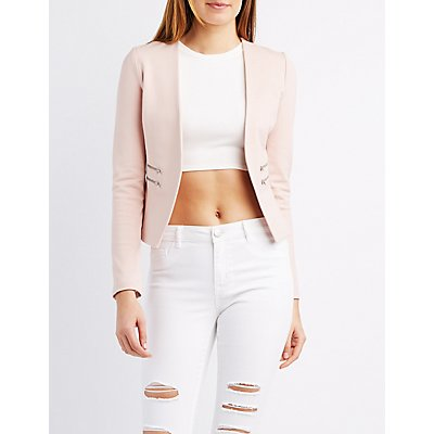 Zipper-Trim Collarless Blazer