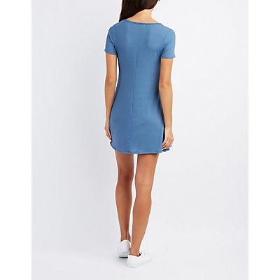 Ribbed Lace-Up Shift Dress