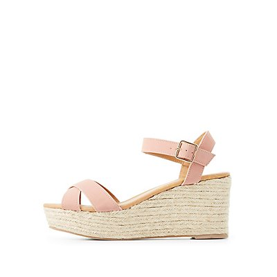 Qupid Two-Piece Espadrille Wedge Sandals