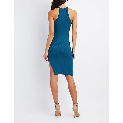 Asymmetrical Lace-Up Bodycon Dress