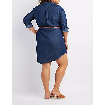 plus size belted chambray shirt dress | charlotte russe