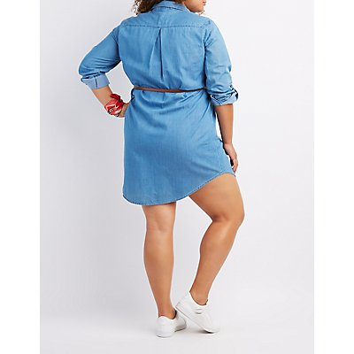 Plus Size Belted Chambray Shirt Dress