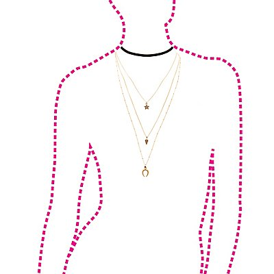 Faux Suede Choker & Layered Chainlink Necklaces - 2 Pack
