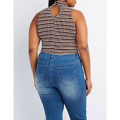 Plus Size Striped Choker Neck Bodysuit