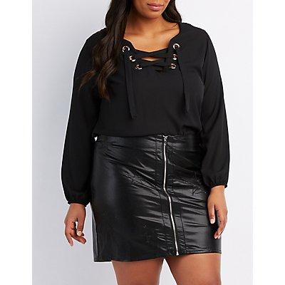 Plus Size Lace-Up Blouse