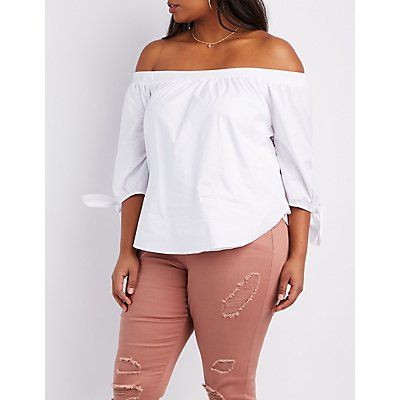 Plus Size Off-The-Shoulder Tie Sleeve Top