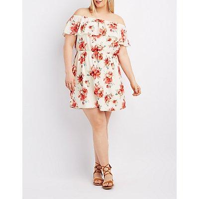 Plus Size Floral Off-The-Shoulder Ruffle Dress