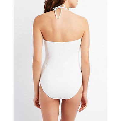 Scalloped One-Piece Halter Swimsuit