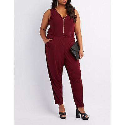 Plus Size Zip-Up Front Jumpsuit