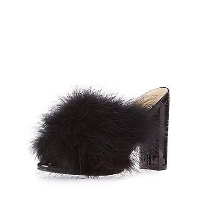 Feather Peep Toe Mules