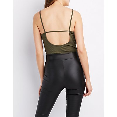Ribbed Strappy Caged Bodysuit