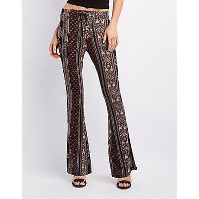 Printed Lace-Up Flare Pants