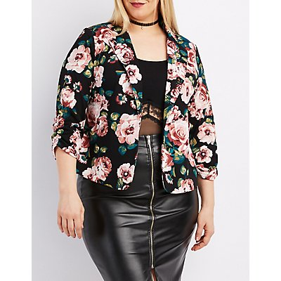 Plus Size Floral Ruched Sleeve Blazer