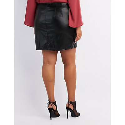 Plus Size Embroidered Faux Leather Skirt