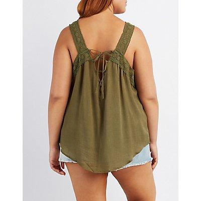 Plus Size Crochet-Trim Lace-Up Tank Top