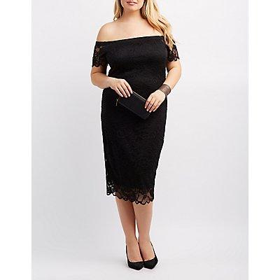 Plus Size Fishnet Mesh Bodycon Dress